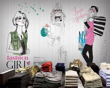 Beibehang Custom Wallpaper Fashion Girl Clothing Photo Wallpaper 3D Living Room Bedroom Background mural wallpaper for walls 3 d v2® living clothing повседневные брюки
