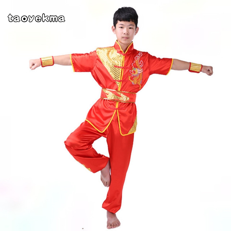 Martial Arts Clothing Kids Boys Men Women Tai Chi Kung Fu Uniforms Performance Clothes Set Dragon Embroidery Shirt + Pants