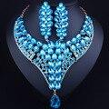 Conjunto de Joyas de Oro Collar de la Declaración de lujo Crystal Nupcial Pendientes de la Joyería de La Boda India