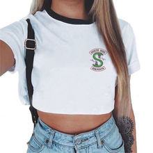 Korean Clothes Snake Print Harajuku Casual Short Sleeve Riverdale Tee Cropped Women Sexy Crop Top Women Riverdale T Shirt Summer(China)