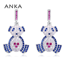 Купить с кэшбэком ANKA bear cubic zirconia earrings bohemian piercing micro pave zircon women earrings fashion jewellery #130272