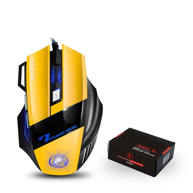 Профессиональная Проводная игровая мышь, 7 кнопок, светодиодная оптическая USB компьютерная мышь для dota pubg mause для ноутбуков
