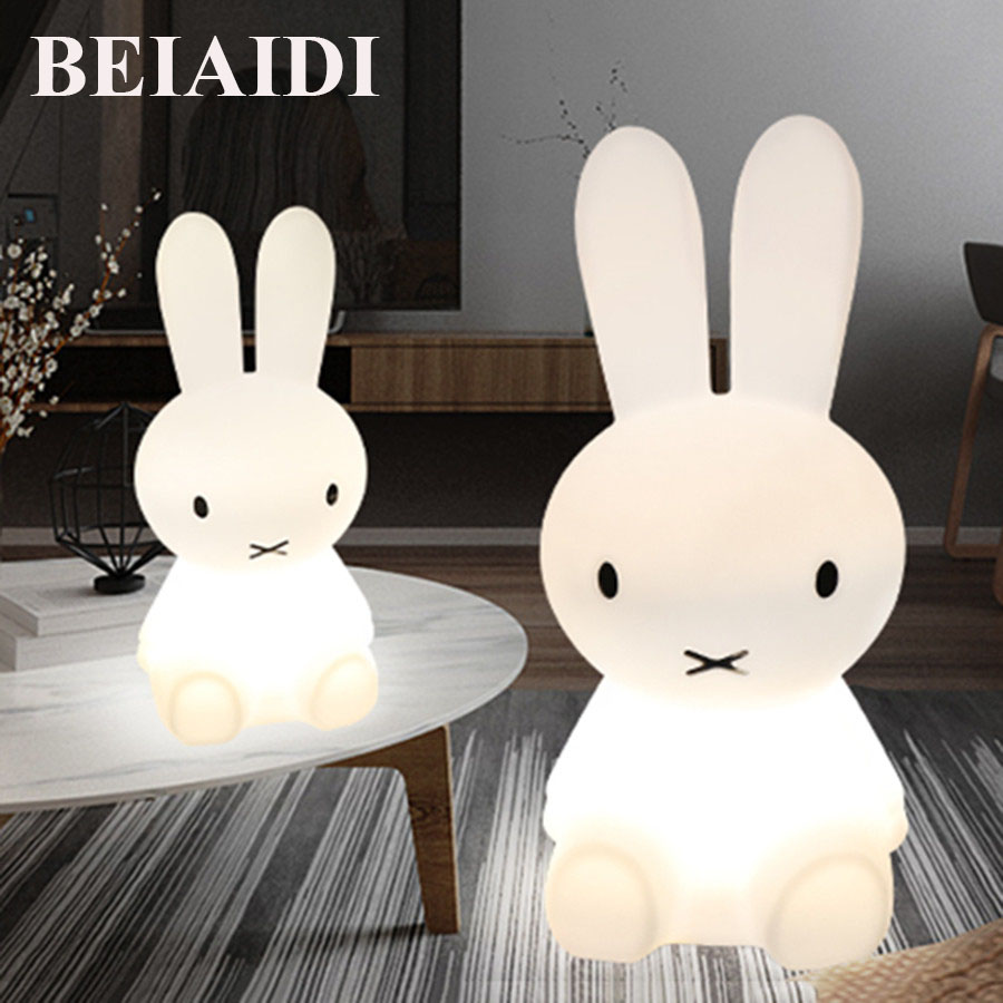 BEIAIDI Big Rabbit Dimmable Led Night Light 50/80CM Nursing large night light Baby Feeding Bedside large Cute Floor Table Lamps цена 2017