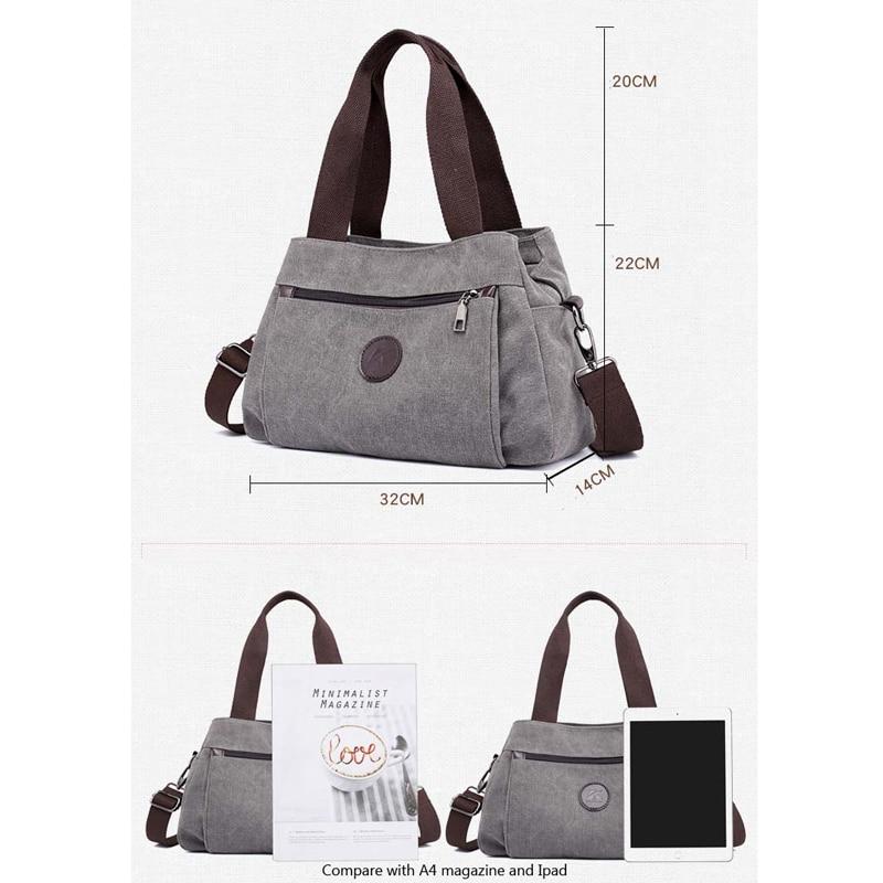 Womens Canvas Handbags Female Hobos Single Shoulder Bags Ladies Totes Bolsas Woman Crossbody Pack Vintage Solid Multi-pocket
