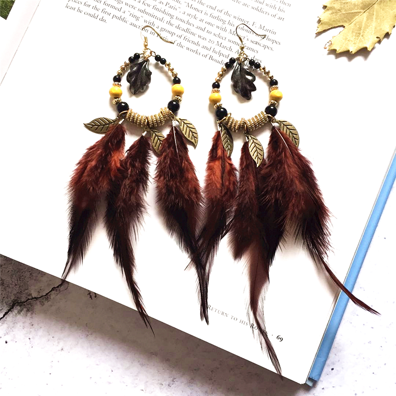 BOYULIGE Ethnic long Feather charms women statement earrings Christmas gift fashion vintage diy wedding jewelery stranger things