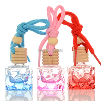 8ML Square Glass Hang Pendant Refillable Perfume Bottle, Colored Car Hang Scent Container, Hang Pendant Decorations/Gifts Beauty