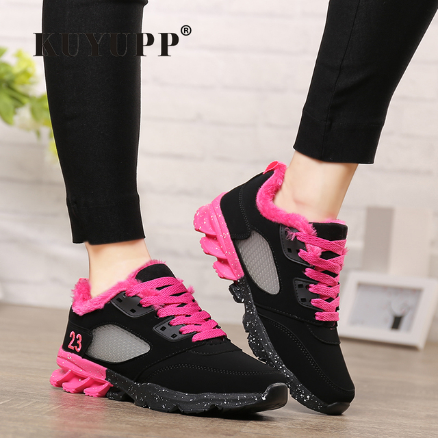 2017 Fashion Winter Women Casual Shoes Plush Warm Sport Low Top Women Shoes Black Pink Breathable Lace Up Woman Trainers YD165