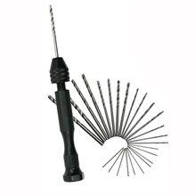 Деревообрабатывающие сверлильные роторные инструменты ручное сверло 10 шт. твист сверло мини микро алюминиевый сплав ручная дрель с быстрозажимным патроном