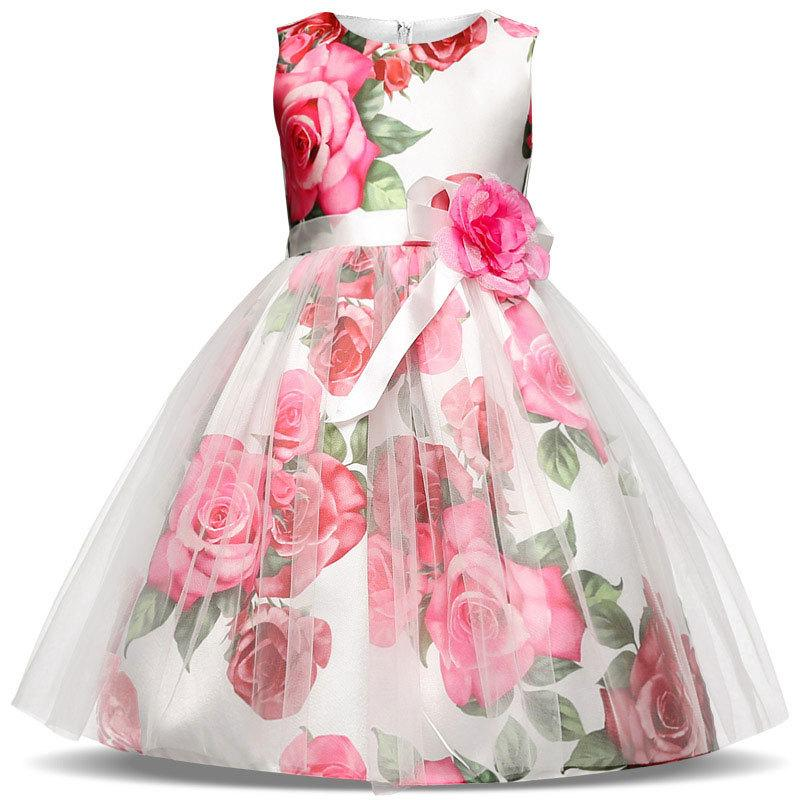 Flower Printed Girls Wedding Dress 2018 New Summer Kids Dresses for Girls Elegant Children Princess Clothing 3 4 5 6 7 8 Year azel elegant latest new child dress for 2 3 year old girls vestidos fashion summer kid clothing little girls daily clothes 2017