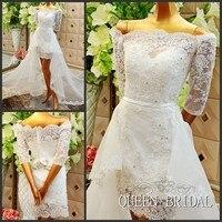 Индивидуальный заказ пикантные короткие Свадебные платья Оболочка Половина рукава Съемная юбка Кружево свадебное платье 2018 Новый Vestidos De