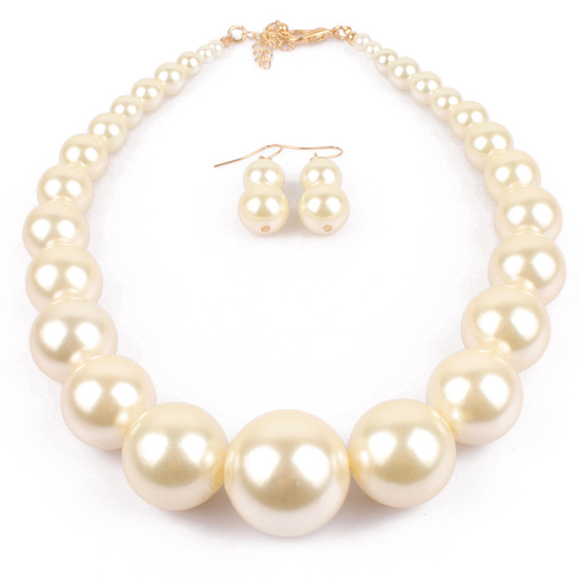Simulated Simple Big White Pearl Necklace With Earrings Rose Gold