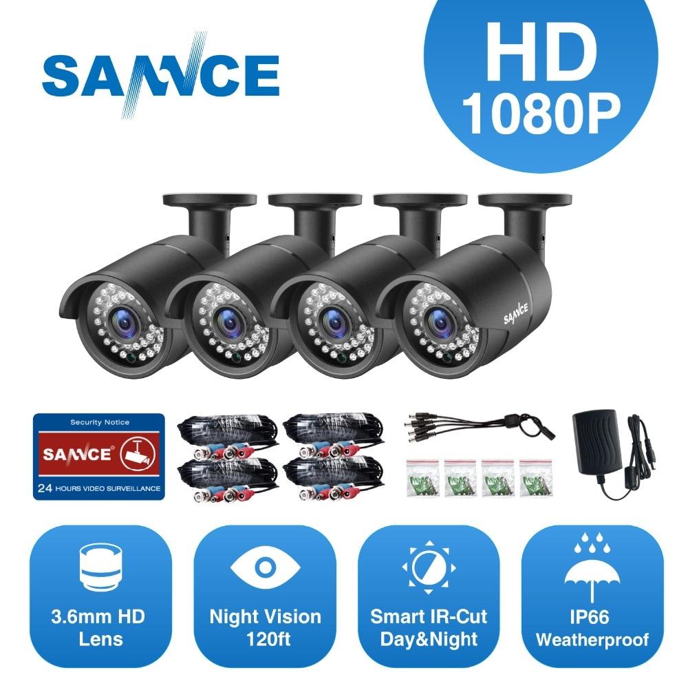 SANNCE HD 4 pièces 1080 P de Sécurité CCTV Analogique Caméra Kit 2.0MP IP66 Étanche En Métal Cam vision nocturne Vidéo Surveillance Caméra