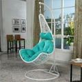 White rattan hanging hammock chair with cushions designs