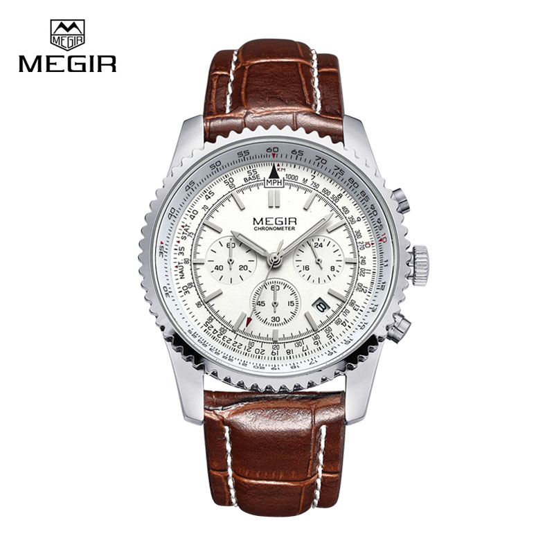 Brand Watch Men Clock Megir Causal Quartz Sports Wristwatch Montre Homme Leather Strap Male Top Luxury Famous Style Wristwatch mens watch top luxury brand fashion hollow clock male casual sport wristwatch men pirate skull style quartz watch reloj homber
