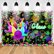 Mehofoto Bowling Theme Birthday Backdrop Vinyl Photography Background Let's Glow Party Graffiti Wall Booth Backdrop Photo Studio bowling theme birthday backdrop let s glow party graffiti wall photography background happy birthday party banner backdrops