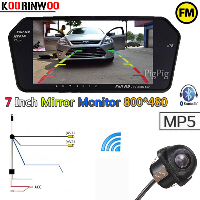 Koorinwoo Wireless 7inch Car Monitor Mirror Screen TF USB Slot Bluetooth MP5 FM Media For Car Rearview camera Parking AssistanceKoorinwoo Wireless 7inch Car Monitor Mirror Screen TF USB Slot Bluetooth MP5 FM Media For Car Rearview camera Parking Assistance