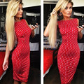 New Fashion Summer Backless Dress Women Polka Dot Sleeveless Ladies Dress Halter Pencil Sexy Empire Female Dress Red Vestidos J9