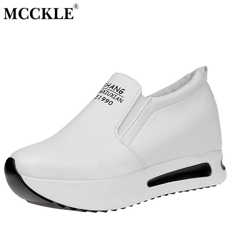 MCCKLE Female Slip On Elastic Band Platform Height Increasing Black White Autumn Wedges 2017 Women's Fashion Casual Shoes цены онлайн