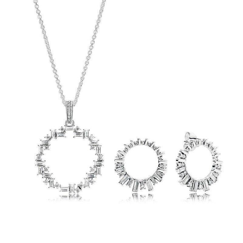 Clair CZ brillant brillant rond pendentif collier et boucles d'oreilles pour les femmes charme argent bijoux ensembles Femme Choker chaîne boucles d'oreilles