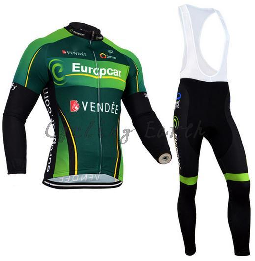 Europcar 2015 Green Winter Clothes Cycling Jersey Bib Pants Bicycle