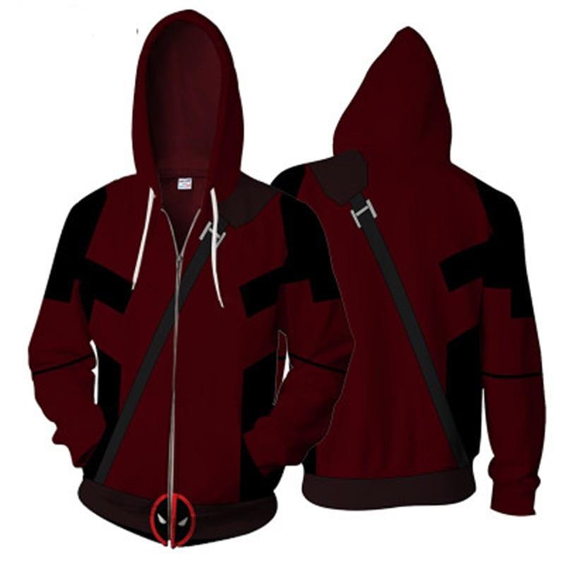 Deadpool Men Adult 3D print Zipper Hoodies Streetwear Casual Cosplay Sweatshirt