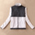 Burrima Novas Mulheres Outerwear Jaquetas de Lã Casaco Bordado Preto/Branco mulheres casacos básicos