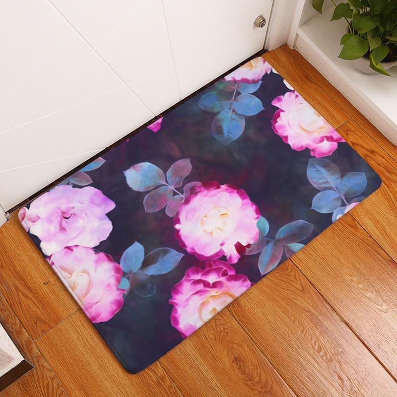 US $10.03  Neue Romantische Blumenmuster Teppiche Blumendruck Teppiche Für  Moderne Wohnzimmer Tür Eingang Shabby Stil Badezimmer Schlafzimmer ...