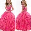 Dulce hermoso vestido de bola largo de la muchacha de flor para la boda vestidos 2016 recién llegado de la princesa del vestido de la barrena vestido para las muchachas