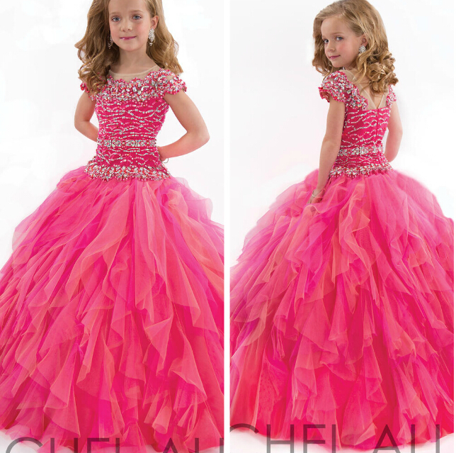 Sweet Beautiful Ball Gown Long Flower Girl Dress For Wedding Dresses 2016 New arrival Princess Dress Set Auger Dress For Girls