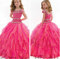 Sweet Beautiful Ball Gown Long Flower Girl Dress For Wedding Dresses 2016 New arrival Princess Dress Set Auger Dress For Girls