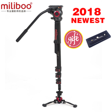 miliboo MTT705AS Aluminum Portable Fluid Head Camera Monopod for Camcorder /DSLR Stand Professional Video Tripod 73Max Height miliboo mtt705a professional aluminum portable camera tripod without hydraulic head monopod dslr stand free shipping