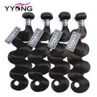 Yyong Hair Brazilian Body Wave Hair 4 Bundles Deals Human Hair Extention Non Remy Hair Natural Color 8-26 Inch Free Shipping