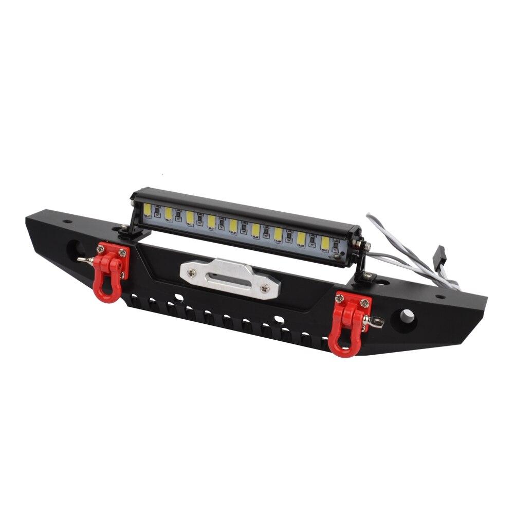 1/10 Rc Car Metal Alloy Front Bumper & LED Light for Traxxas TRX-4 TRX4 Axial Scx10 Scx10-ll D90 D110 1/10 RC Crawler Car