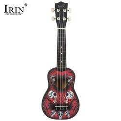 IRIN 4 Cordas 21 polegada Abeto Corpo Basswood Soprano Ukulele Havaiano Taro Padrão Guitarra Com 21 polegada Saco Guitarra Ukulele
