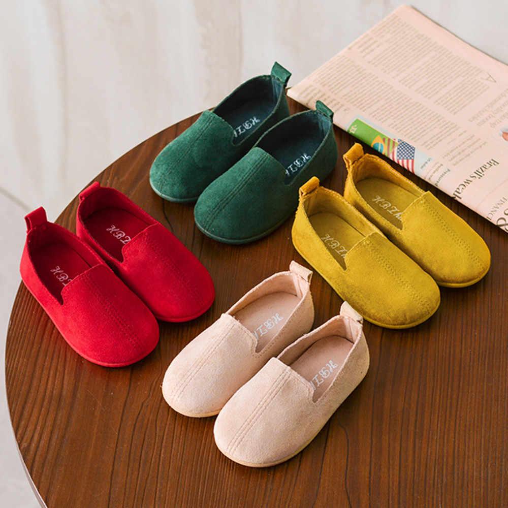 2019 รองเท้าเด็กสำหรับสาวรองเท้าผ้าใบแบนรองเท้าเดี่ยวรองเท้า Candy สีเต้นรำฤดูใบไม้ผลิเด็กรองเท้า chaussure ผู้หญิง enfant