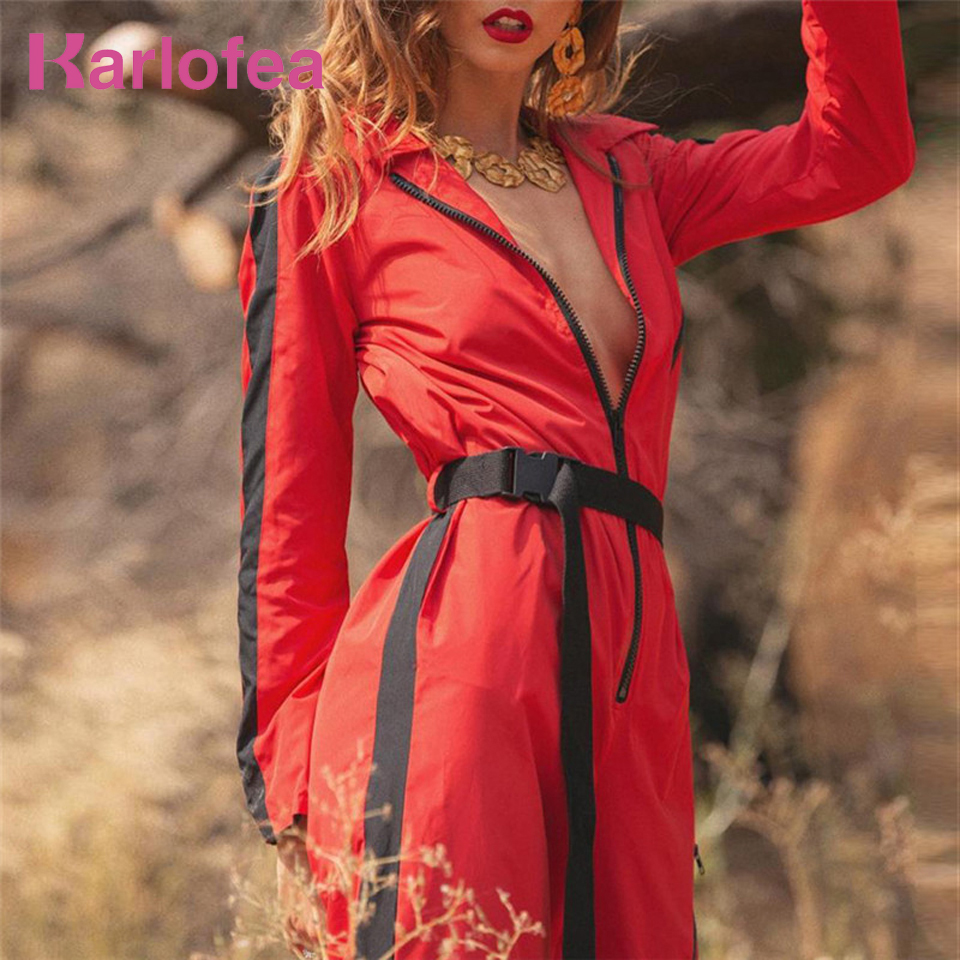 Karlofea Autumn Winter New Long Romper Fashion Zippers Streetwear   Jumpsuit   Red Army green Everyday Casual Loose Outwear   Jumpsuit