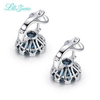 2017 Direct Selling Real Plant Women Trendy L&zuan 925 Sterling 8.34ct Natural Topaz Stone Elegant Clip Earrings For Woman Gift