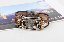 XINYAO 2017 Vintage Brown Genuine Leather Bracelet for Men Women Retro Wood Beads Butterfly Charm Bracelet Mens Male Jewelry