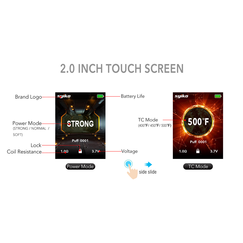 Updated Newest Portable Syiko SE Touch Pod kit 650mAh Built-in Battery Vape Electronic Cigarette 2ml Pod Vape kit VS Aspire AVP (6)