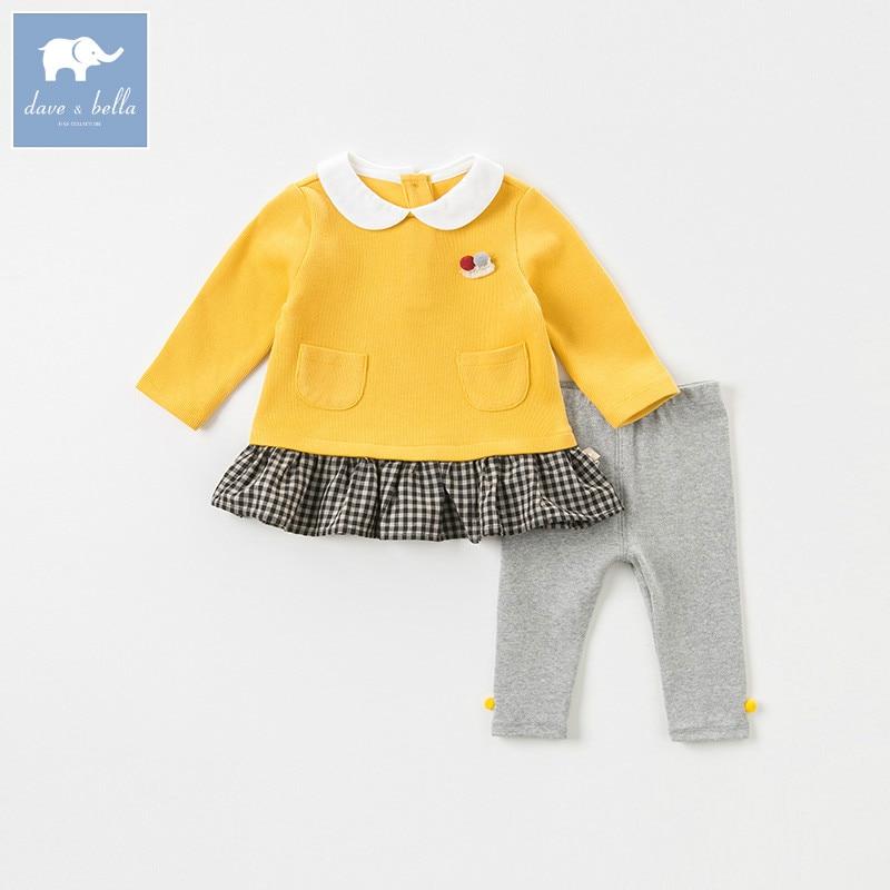 DBZ8067 dave bella autumn infant toddler baby girls fashion clothes kids long sleeve clothing sets children