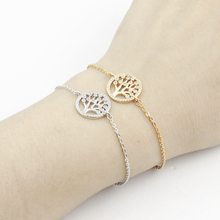 GORGEOUS TALE AAA Cubic Zirconia Tree Of Life Bracelet For Women Jewelry Mother Gifts 2017 Gold Round Charm Femme