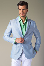 2016 Summer Light Blue Blazer White Pants Linen Men Suits Beach Wedding Prom Tuxedos Groomsman Wear