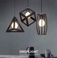 Винтаж Ретро подвесные светильники Светодиодный светильник металла Cube клетка абажур освещение подвесной светильник HM33