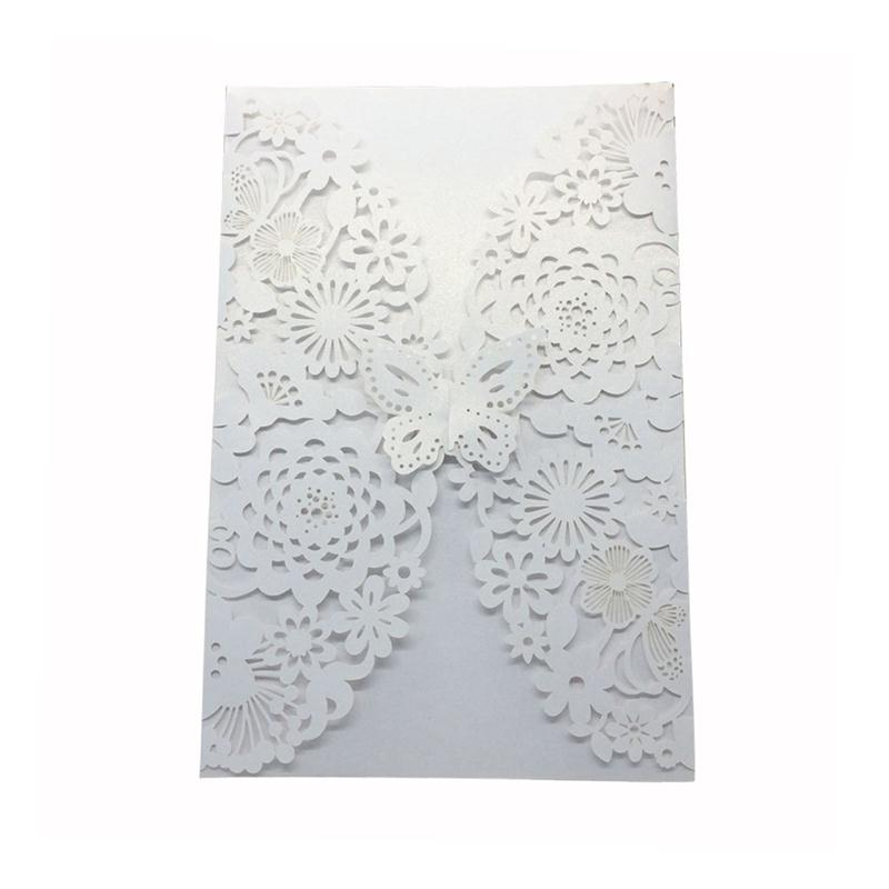 10pcs Vertical Laser Cut Butterfly Invitations Cards Kits for Wedding Bridal Shower Birthday 1 design laser cut white elegant pattern west cowboy style vintage wedding invitations card kit blank paper printing invitation