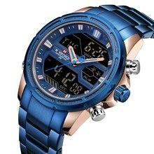 Роскошные Лидирующий бренд NAVIFORCE Мужские кварцевые аналоговые часы модные спортивные часы светодио дный водостойкий светодиодный цифровой полный сталь Часы Relogio