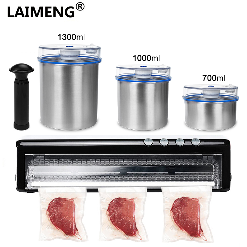 Laimeng Vacuum Food Packaging Machine With Food Grade Stainless Steel Containers For Packing For 110V 220V Vacuum Sealer S205Laimeng Vacuum Food Packaging Machine With Food Grade Stainless Steel Containers For Packing For 110V 220V Vacuum Sealer S205