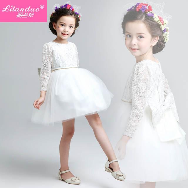 320db2d9f2 placeholder 2015 Lilanduo nueva princesa vestido blanco Snow Queen encaje  de manga larga vestidos bebé Kids fiesta