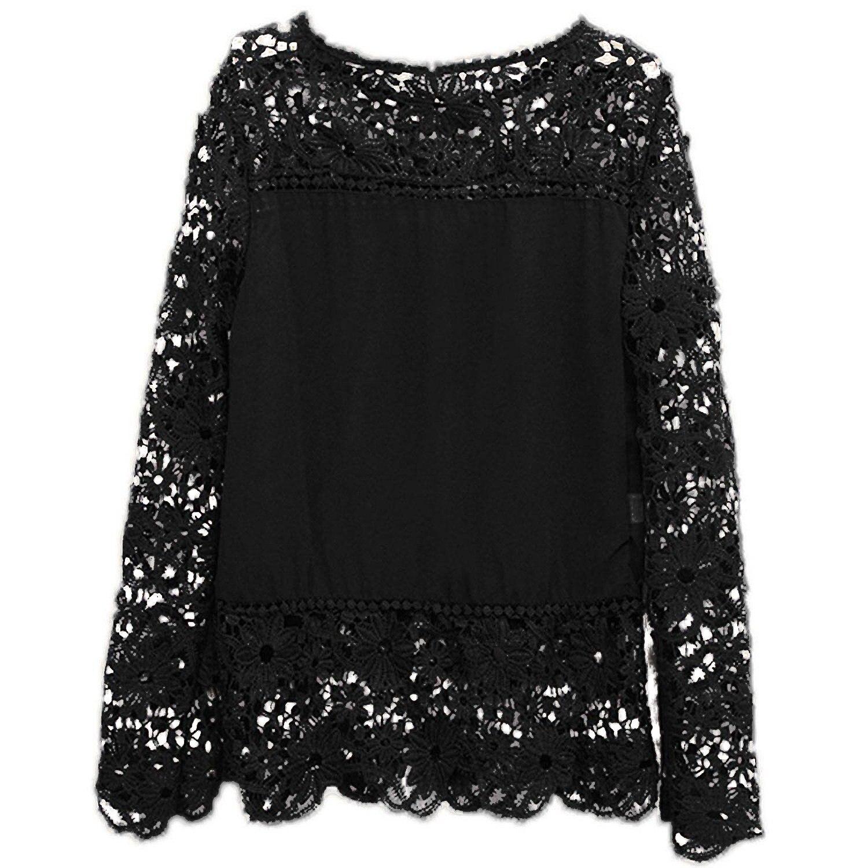 2017 NEW Autumn Fashion font b Women b font Lace Chiffon Flower Hollow out Crochet Long