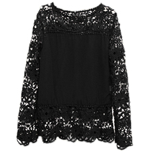 2017 NEW Autumn Fashion Women Lace Chiffon Flower Hollow-out Crochet Long Sleeve Shirts Casual Feminine Blouses