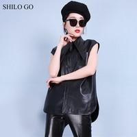 SHILO GO Leather Vest Womens Summer Fashion sheepskin genuine leather Vest lapel collar sleeveless single breasted straight Vest